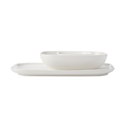 White Basics Rect Pltr And 2 Bowl Set Gb