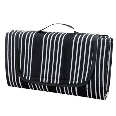 Painters Stripe Picnic Rug Black