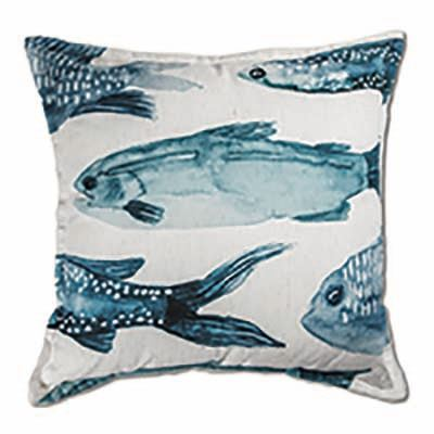 Fish Indigo Cushion 50cm