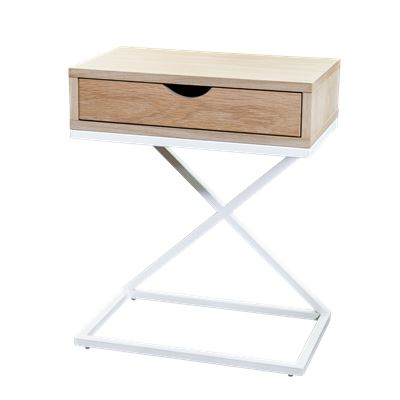 Hendrik Bedside White & Oak Single Draw