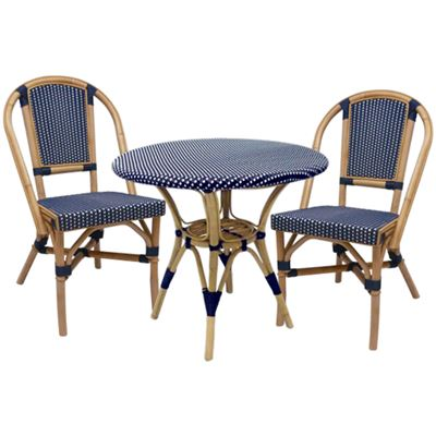 Bistro Dining Table Navy + 2 Bistro Chairs Navy