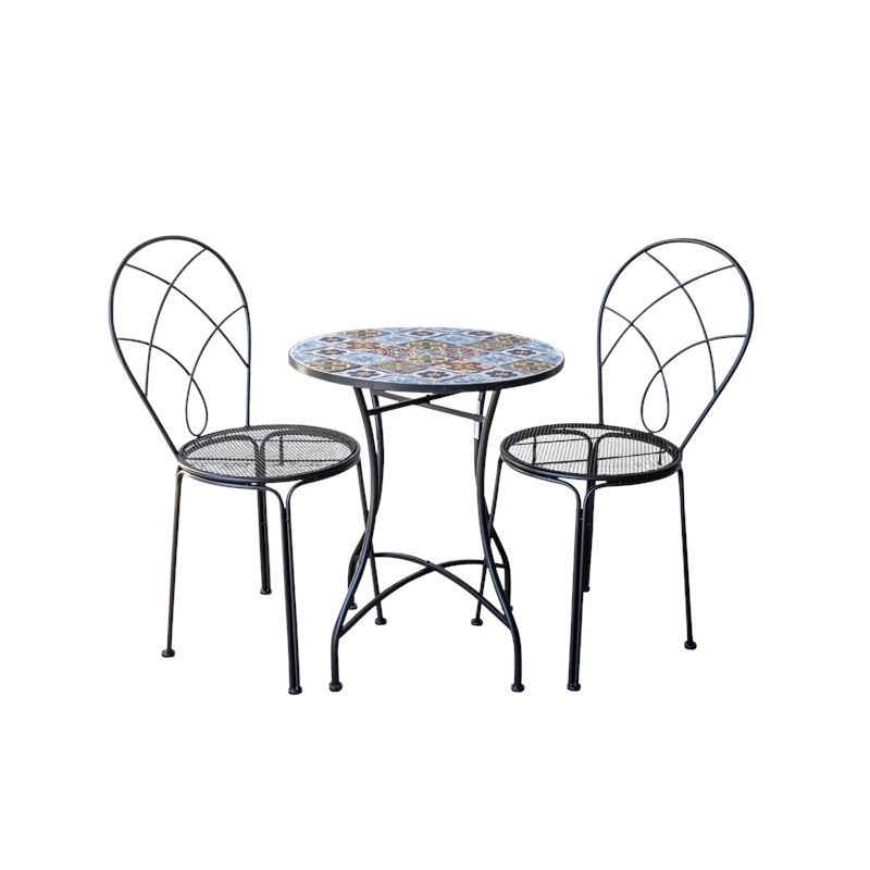 Multi Colour Tile Bistro Table & Chairs