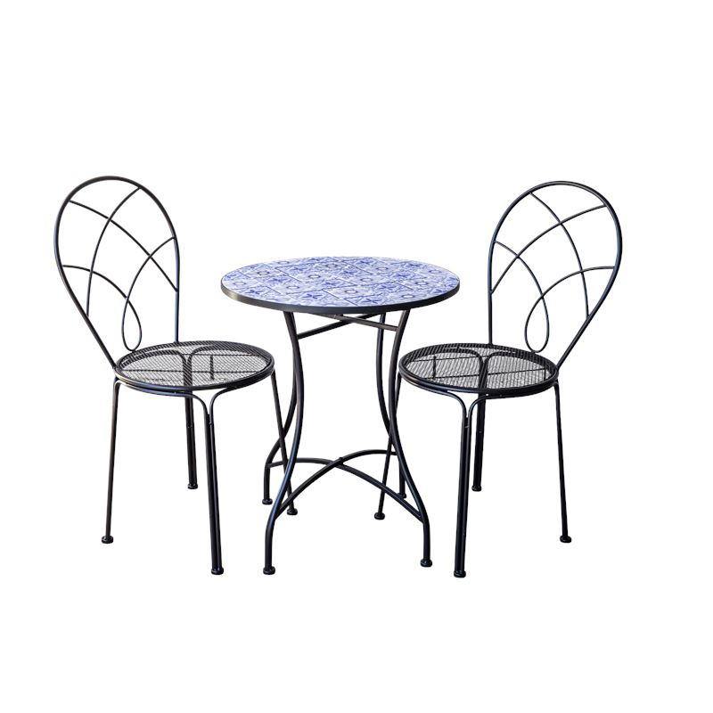 Blue & White Tile Bistro Table & Chairs