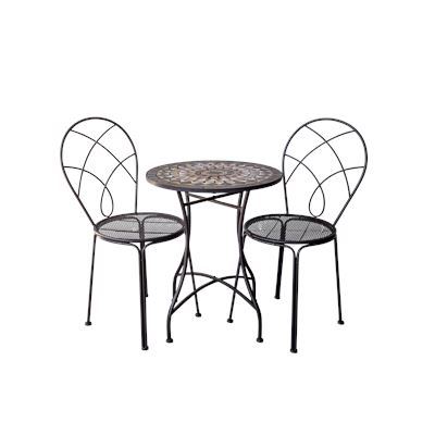 Brown & Natural Mosaic Bistro Table & Chairs