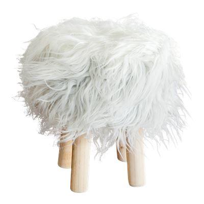 Faux Fur Stool 30cm White