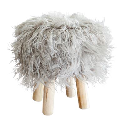 Faux Fur Stool 30cm Grey