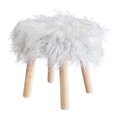 Faux Fur Stool 40cm White