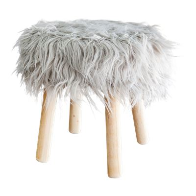 Faux Fur Stool 40cm Grey