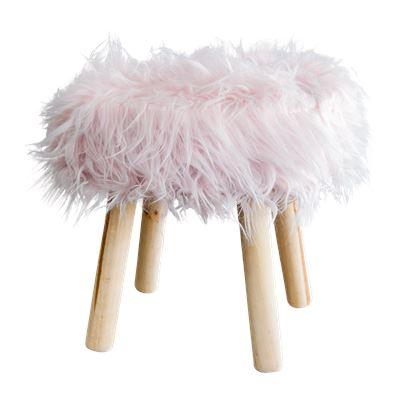 Faux Fur Stool 40cm Blush