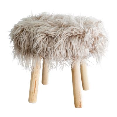 Faux Fur Stool 40cm Taupe