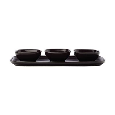 Forma Rect Platter & 3 Squ Bowl Set Black