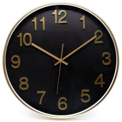 Rene Clock Black and Gold 38cm
