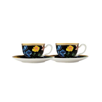 Teas & C's Contessa Demi Cup & Saucer 85ML Set of 2 Black Gift Boxed