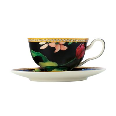 Teas & C's Contessa Footed Cup & Saucer 200ML Black Gift Boxed