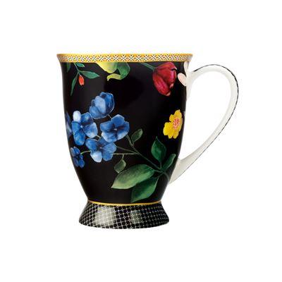 Teas & C's Contessa Footed Mug 300ML Black Gift Boxed