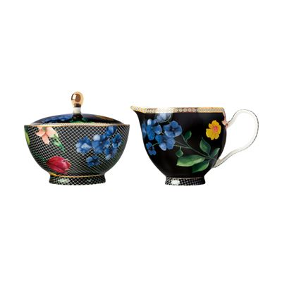 Teas & C's Contessa Sugar & Creamer Set Black Gift Boxed