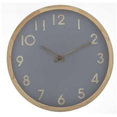 Riley Wall Clock Grey/Natural 32.5cm