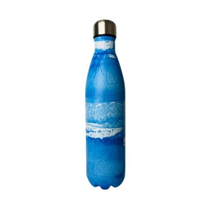 SS Water Bottle Double Wall Marbled Blue 750ml