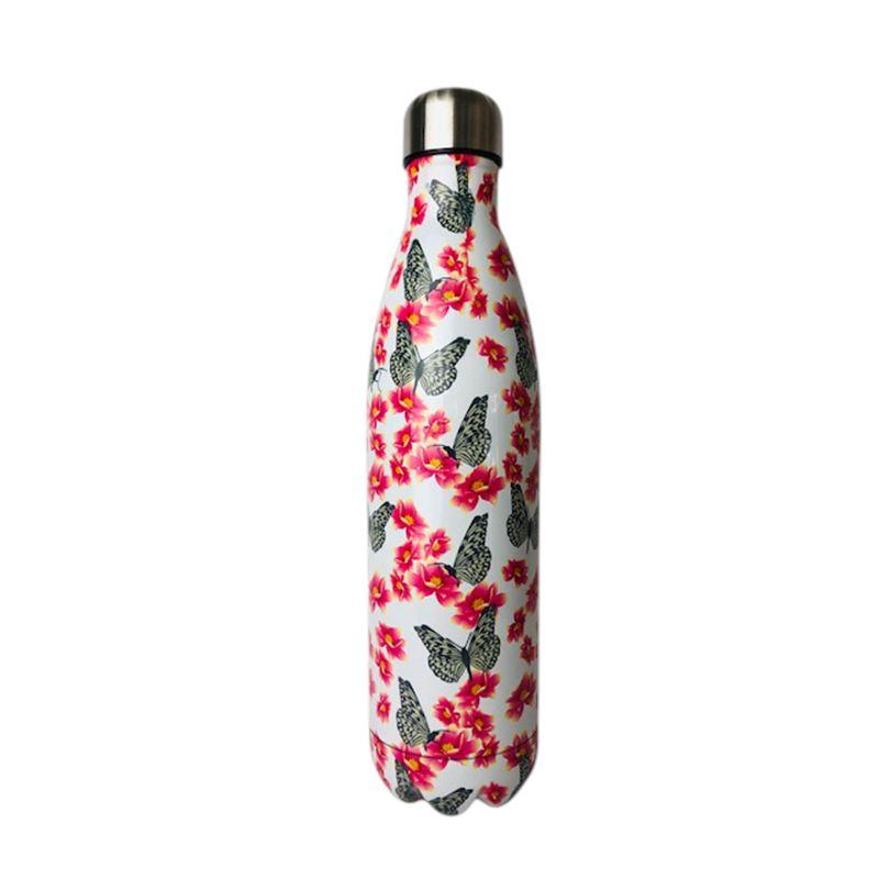SS Water Bottle Double Wall Butterfly Pink 750ml
