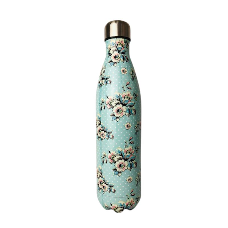SS Water Bottle Double Wall Flower White 750ml