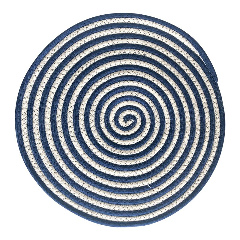 Round Woven Cotton Placemat 38cm White Navy