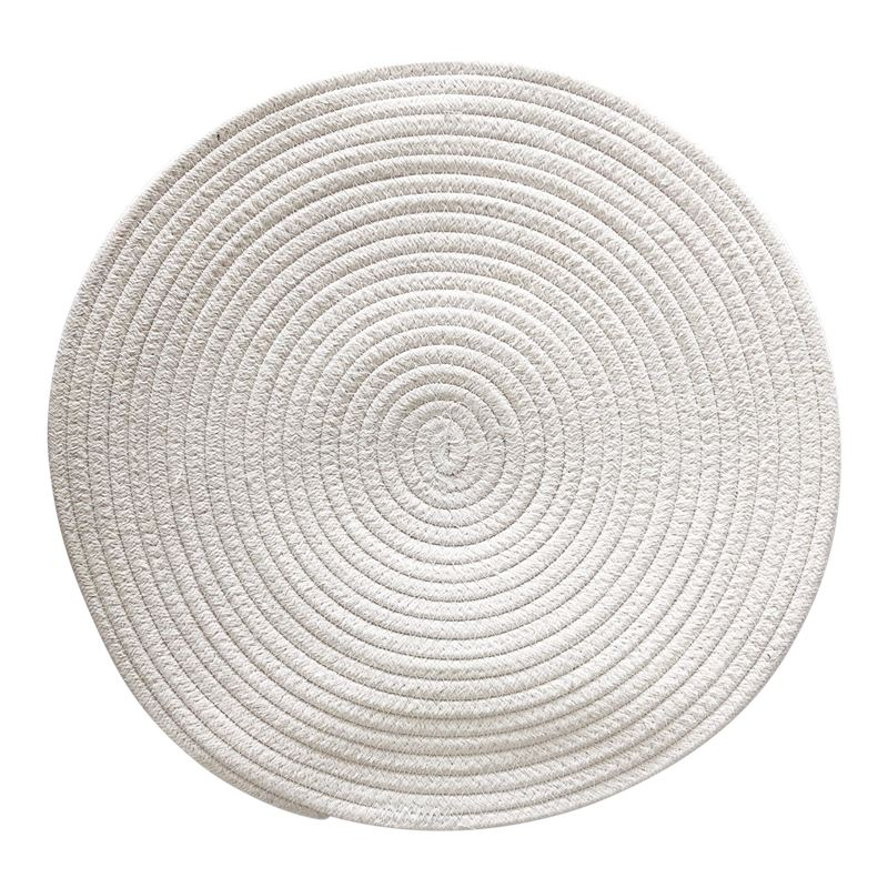 Round Woven Cotton Placemat 38cm White