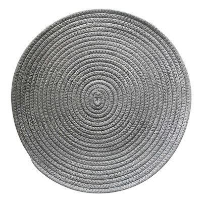 Round Woven Cotton Placemat 38cm Light Grey
