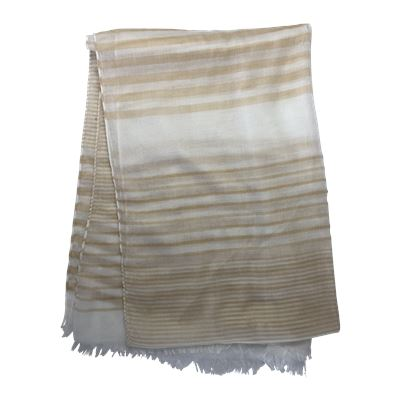Fringed Stripe Scarf Taupe