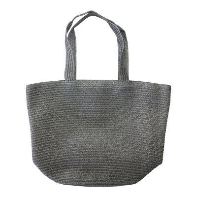 Woven Beach Bag Silver