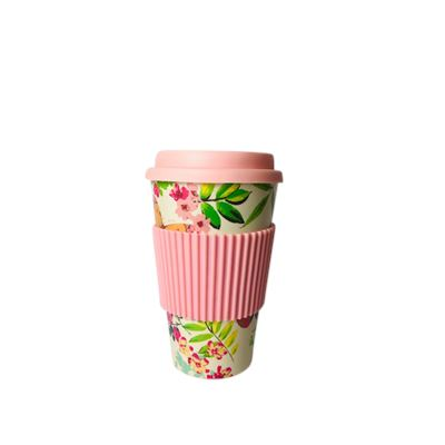 Bamboo Fiber Coffee Cup Pink Floral