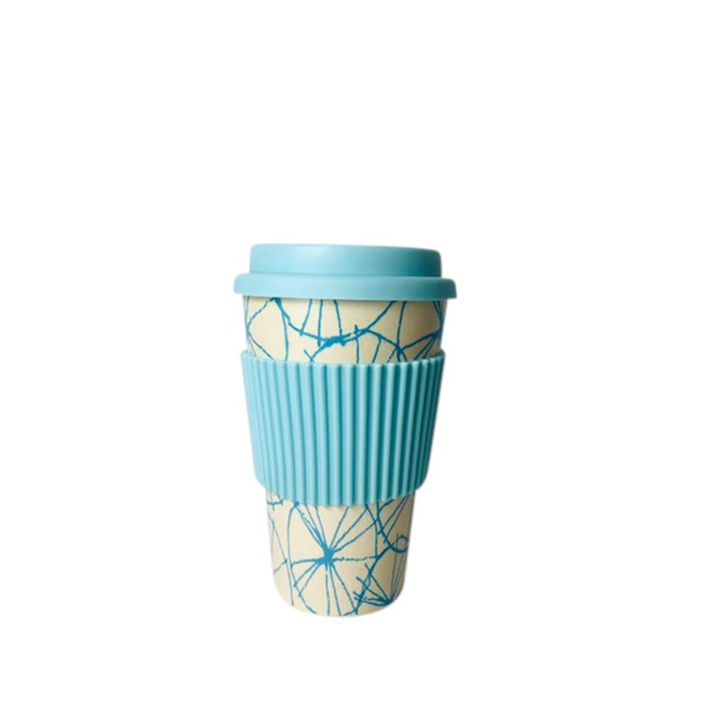 Bamboo Fiber Coffee Cup Blue Abstract