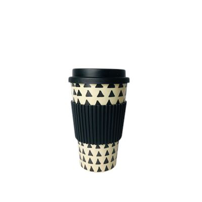 Bamboo Fiber Coffee Cup Black Triangles