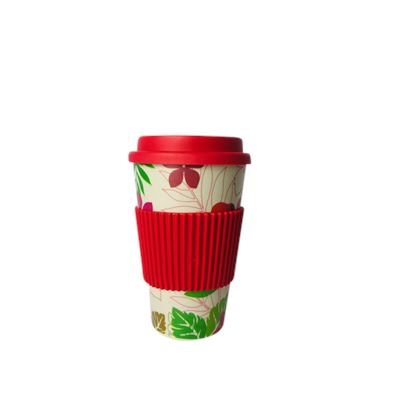 Bamboo Fiber Coffee Cup Red Tropical