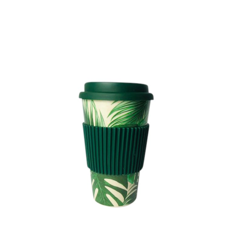 Bamboo Fiber Coffee Cup Green Leaf
