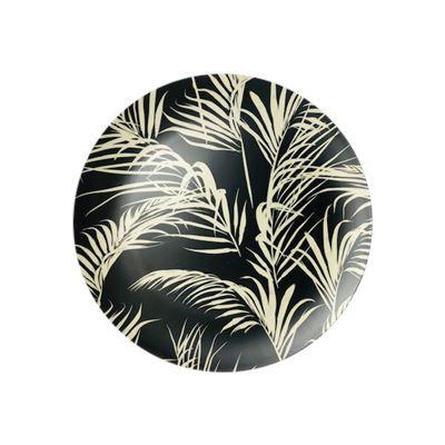 S/4 Plates Palm Black & White