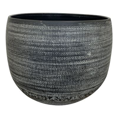 Hammered Planter Pot Medium 32x34cm Black