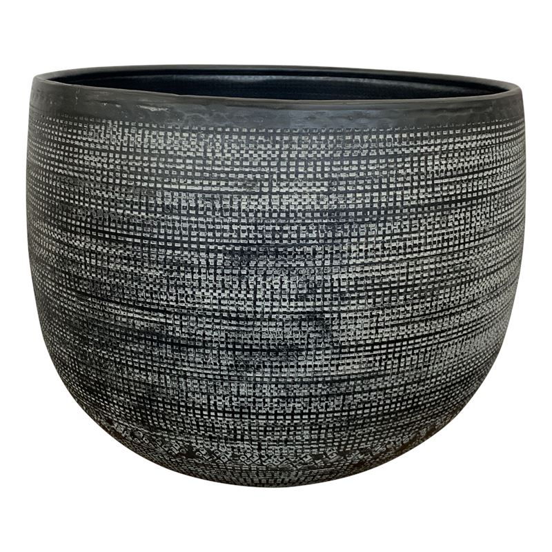 Hammered Planter Pot Small 26x30cm Black