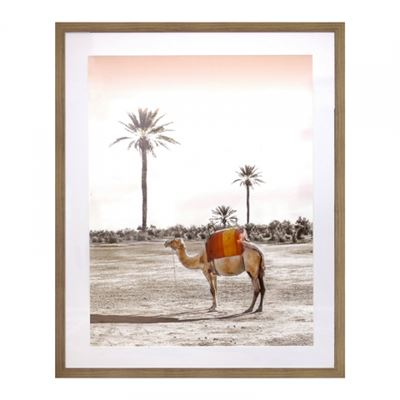 Camel Print in Oak Frame