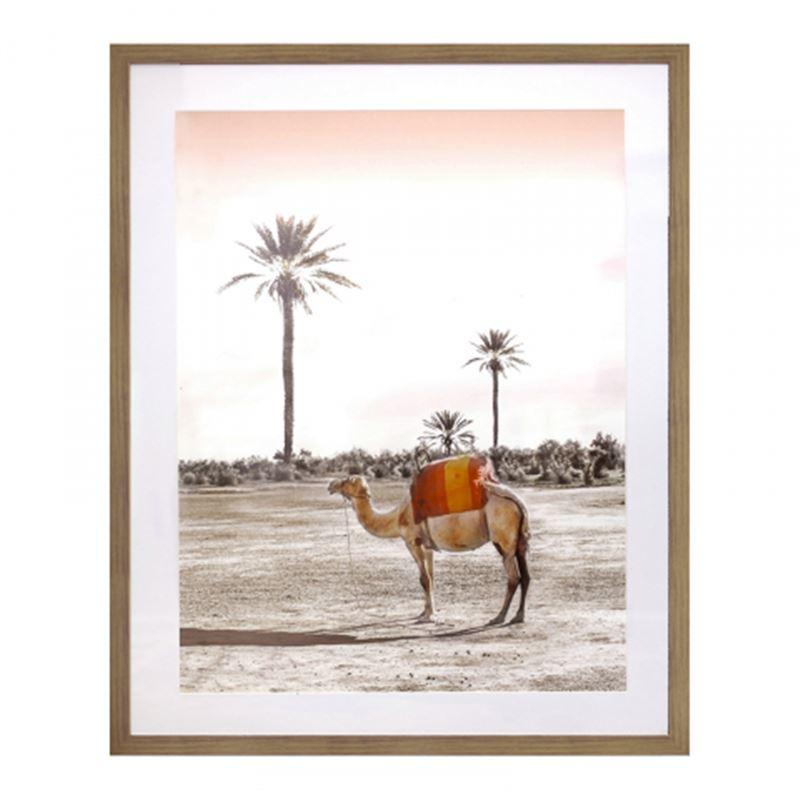 Camel Print in Oak Frame