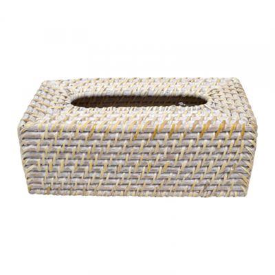 Bay Rattan Tissue Box Cover - White