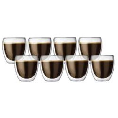 Pavina 6 Pcs Glass + 2 Pcs For Free, Double Wall, Small, 0.25 L, 8 Oz Borosilicate