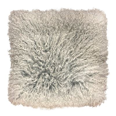 Mongolian Lamb Cushion 40cm Grey