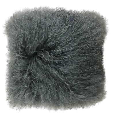 Mongolian Lamb Cushion 40cm Charcoal