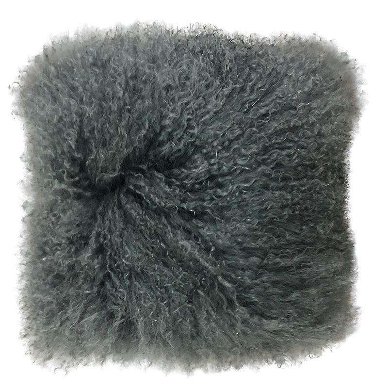 Mongolian Lamb Cushion 40cm Charcoal