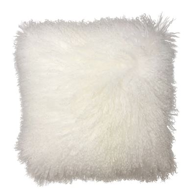Mongolian Lamb Cushion 40cm White