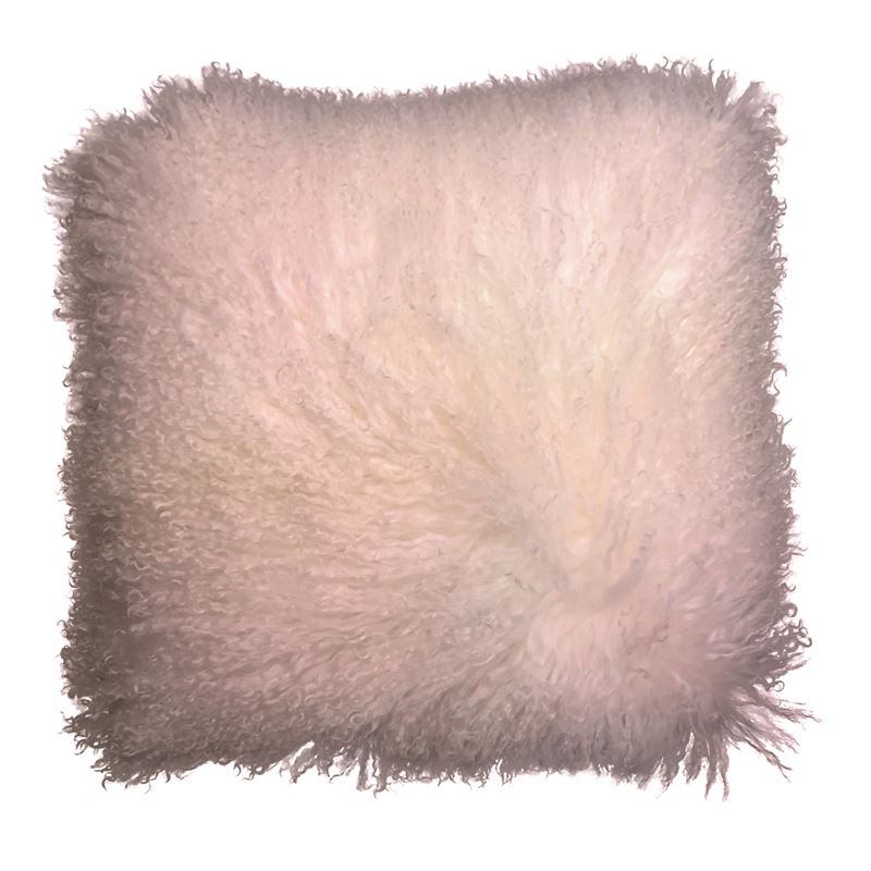 Mongolian Lamb Cushion 40cm Pink