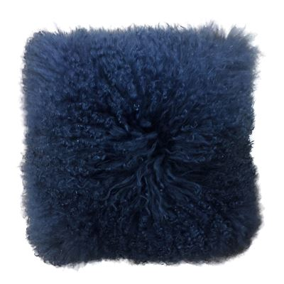 Mongolian Lamb Cushion 40cm Navy