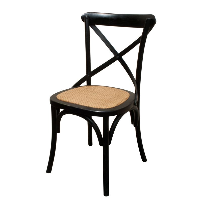 Cross Back Dining Chair Black