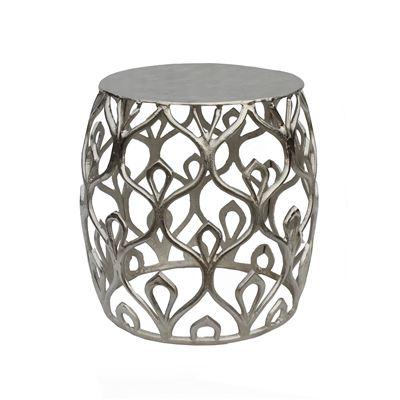 Darjeeling Drum Side Table Silver