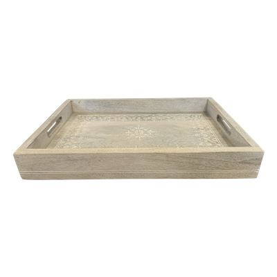 Handpainted Rectangle Tray Small Whitewash